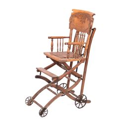 Early Victorian Child High Chair Stroller Combo