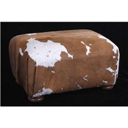 Holstein Cow Hide Ottoman with Pillows