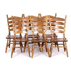 American Slat-back Shaker Style Solid Oak Chairs 6
