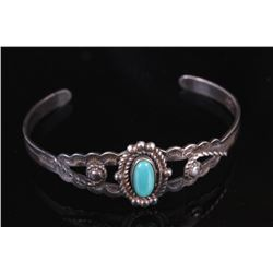 Old Pawn Route 66 Navajo Sterling & Turquoise Cuff