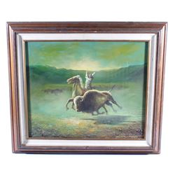 David Southworth Hunting Buffalo Oil On Canvas