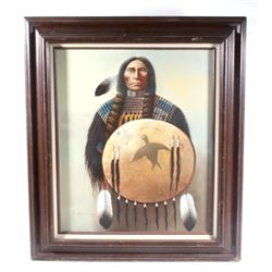 Indian Warrior Oil on Canvas By S. Garcia