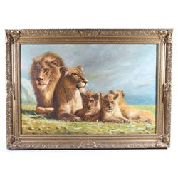 Original Lion Family Painting Signed By Biau
