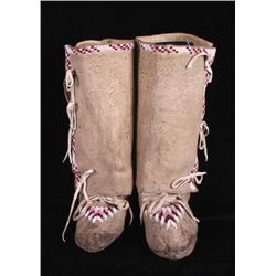 Flathead Indian High Top Beaded Moccasins