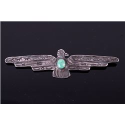 Old Pawn Navajo Sterling Thunderbird Turquoise Pin