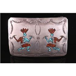 Navajo Branch Coral & Chip Turquoise Belt Buckle