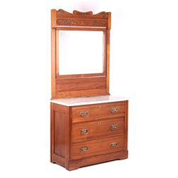 Eastlake Marble Top Three Drawer Dresser W/ Mirror