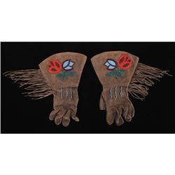 Crow Indian Floral Beaded Gauntlets
