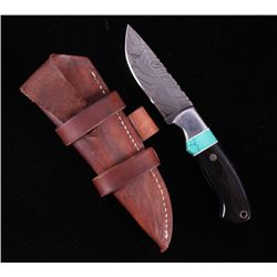CFK Damascus Turquoise & Buffalo Inlaid Horn Knife