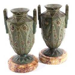 Art Nouveau Bronze Candleholders Late 19th Century
