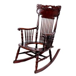 Antique Pressed Back Victorian Walnut Rocker