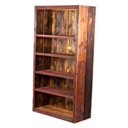 Antique Rough Sawn Four Shelf Wood Cabinet