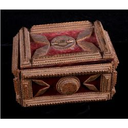 Early American Folk Wooden Tramp Art Velvet Box