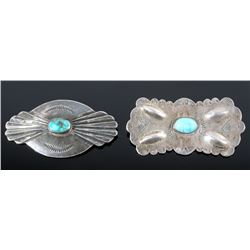 Navajo Sterling Silver and Turquoise Brooches