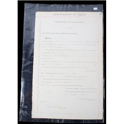 Territory of Oklahoma Appointment of Agent c. 1905