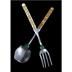Chinese Aluminum and Bone Serving Spoon and Fork
