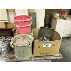 1 GALLON INDUSTRIAL PAINT POT , BOX OF ASSORTED COMMERCIAL SPRAY GUNS AND PAINT POT LINERS