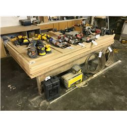 ASSORTED SHEETS OF MDF WOOD & WOODEN WORK TABLE