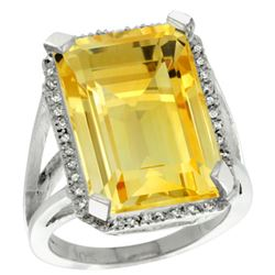 Natural 15.06 ctw Citrine & Diamond Engagement Ring 10K White Gold - REF-64X3A