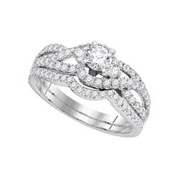 1 CTW Diamond Bridal Wedding Engagement Ring 14KT White Gold - REF-139N5F