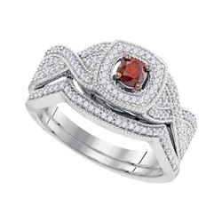 0.50 CTW Red Color Diamond Bridal Engagement Ring 10KT White Gold - REF-44H9M