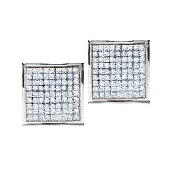 0.90 CTW Pave-set Diamond Square Cluster Earrings 10KT White Gold - REF-30K2W