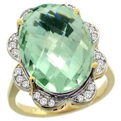 Natural 13.83 ctw green-amethyst & Diamond Engagement Ring 14K Yellow Gold - REF-124K4R