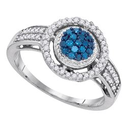 0.35 CTW Blue Color Diamond Circle Cluster Ring 10KT White Gold - REF-25X4Y
