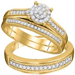 0.44 CTW His & Hers Diamond Cluster Matching Bridal Ring 10KT Yellow Gold - REF-57M2H