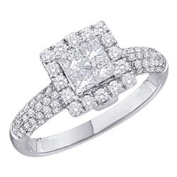 1.01 CTW Princess Diamond Cluster Halo Bridal Engagement Ring 14KT White Gold - REF-109W4K