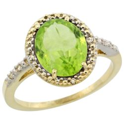 Natural 2.8 ctw Peridot & Diamond Engagement Ring 14K Yellow Gold - REF-39H4W