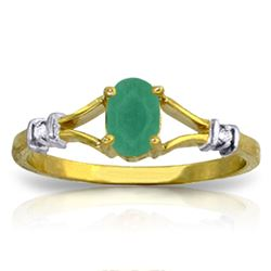 Genuine 0.51 ctw Emerald & Diamond Ring Jewelry 14KT Yellow Gold - REF-31T6A