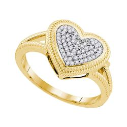 0.15 CTW Diamond Rope Heart Love Cluster Ring 10KT Yellow Gold - REF-24M2H