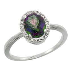 Natural 1.22 ctw Mystic-topaz & Diamond Engagement Ring 14K White Gold - REF-27R2Z