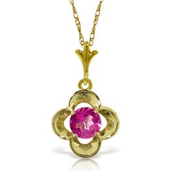 Genuine 0.55 ctw Pink Topaz Necklace Jewelry 14KT Yellow Gold - REF-23Y8F