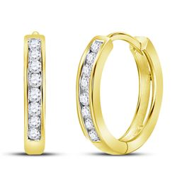 0.25 CTW Diamond Hoop Earrings 10KT Yellow Gold - REF-22F4N