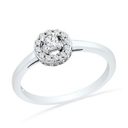 0.25 CTW Diamond Solitaire Halo Promise Bridal Ring 10KT White Gold - REF-24M2H