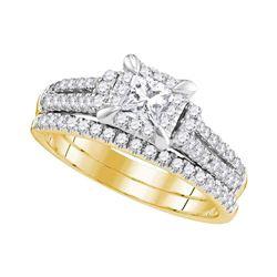 1 CTW Princess Diamond Halo Bridal Engagement Ring 14KT Yellow Gold - REF-134M9H