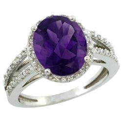 Natural 3.47 ctw Amethyst & Diamond Engagement Ring 10K White Gold - REF-34G7M