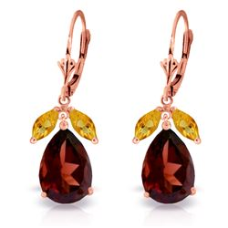 Genuine 13 ctw Garnet & Citrine Earrings Jewelry 14KT Rose Gold - REF-71W3Y