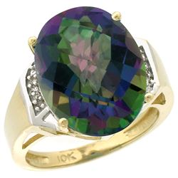 Natural 11.02 ctw Mystic-topaz & Diamond Engagement Ring 14K Yellow Gold - REF-65N8G