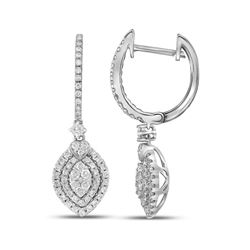 0.95 CTW Diamond Double Oval Dangle Earrings 14KT White Gold - REF-97W4K