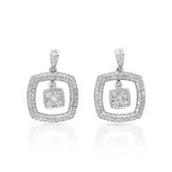 1 CTW Diamond Earrings 14K White Gold - REF-92W7H