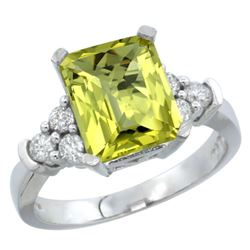Natural 2.86 ctw lemon-quartz & Diamond Engagement Ring 10K White Gold - REF-52X7A
