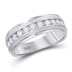 0.49 CTW Mens Channel-set Diamond Milgrain Edge Wedding Ring 10KT White Gold - REF-56W2K