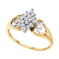 0.15 CTW Prong-set Diamond Cluster Heart Mom Ring 10KT Yellow Gold - REF-11X2Y