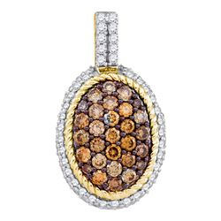 0.96 CTW Cognac-brown Color Diamond Oval Rope Cluster Pendant 10KT Yellow Gold - REF-57M2H