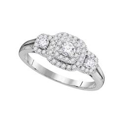 0.51 CTW Diamond Solitaire Double Halo Bridal Engagement Ring 14KT White Gold - REF-71M3H