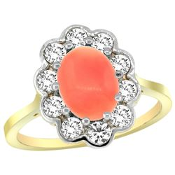 Natural 2.58 ctw Coral & Diamond Engagement Ring 14K Yellow Gold - REF-80N2G