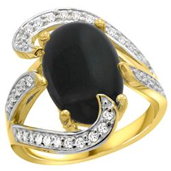 Natural 3.96 ctw onyx & Diamond Engagement Ring 14K Yellow Gold - REF-132Z8Y